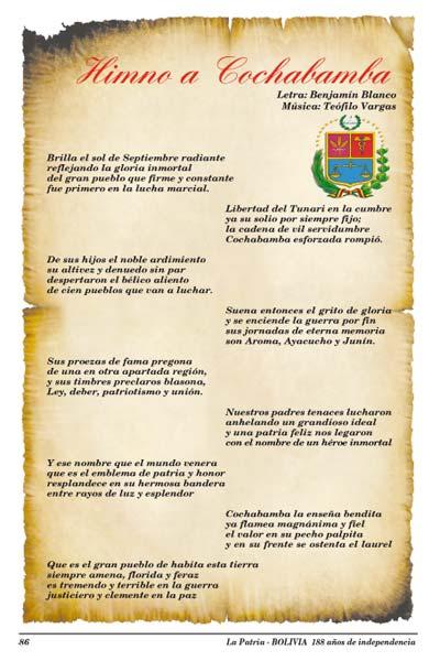 Letra del Himno a Cochabamba